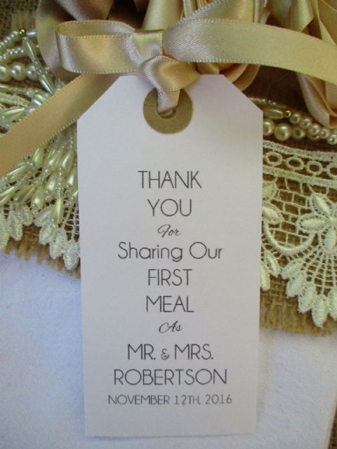 10 Wedding Table Place Setting Tag Napkin Tie Personalised white